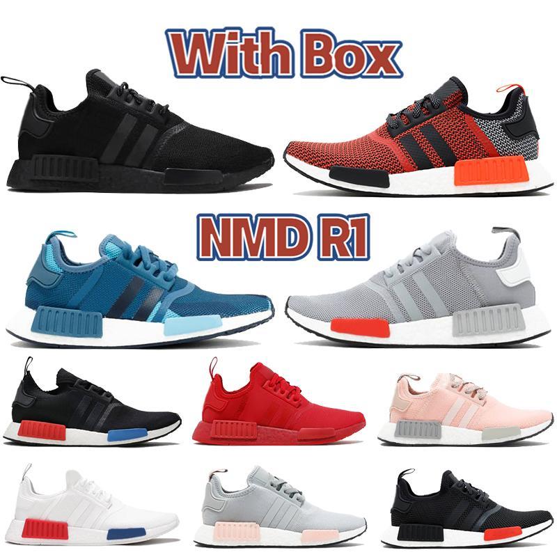 Kutu NMD R1 Erkek Koşu Ayakkabıları Yemyeşil Kırmızı Işık Onix Avrupa Özel Dokunsal Yeşil Üçlü Siyah Erkek Kadın Açık Eğitmenler Sneakers