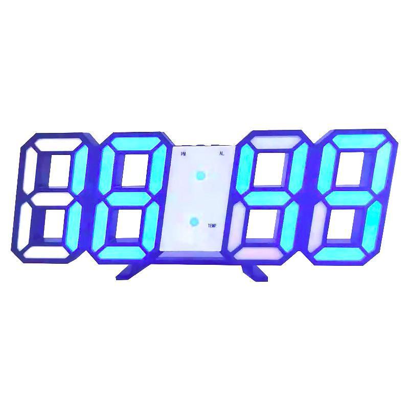 21.2 * 8.3 * 3.5cm Large Digital LED Moderne 3D 12/24 Heure Affichage Réveil de mur de snooze Dimmable Horloges suspendues