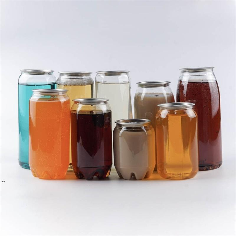 Plastic Beverage Bottle Can 350ML 500ML 650ML Ring-pull Can Round Water Bottles Disposable food grade Juice Cups sea shipping OWB9047