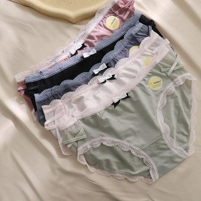 Новые сладкие сексуальные кружева бесшовные короткие трусы женщины японские милые лук белье брюки чистые цвета женские трусики подростка E18002 D9AJ #