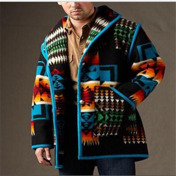 Giacca da uomo in stile europeo autunno autunno inverno giacca da uomo stampato moda cappotto corto cappotto di lana cappotti abiti tuta sportiva