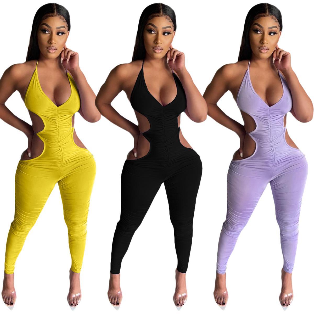 Sexy Frauen Jumpsuit Verband Fitness Aushöhlen Ärmellose Massivfarbe Sommerkleidung Für Frauen Outfit F0513