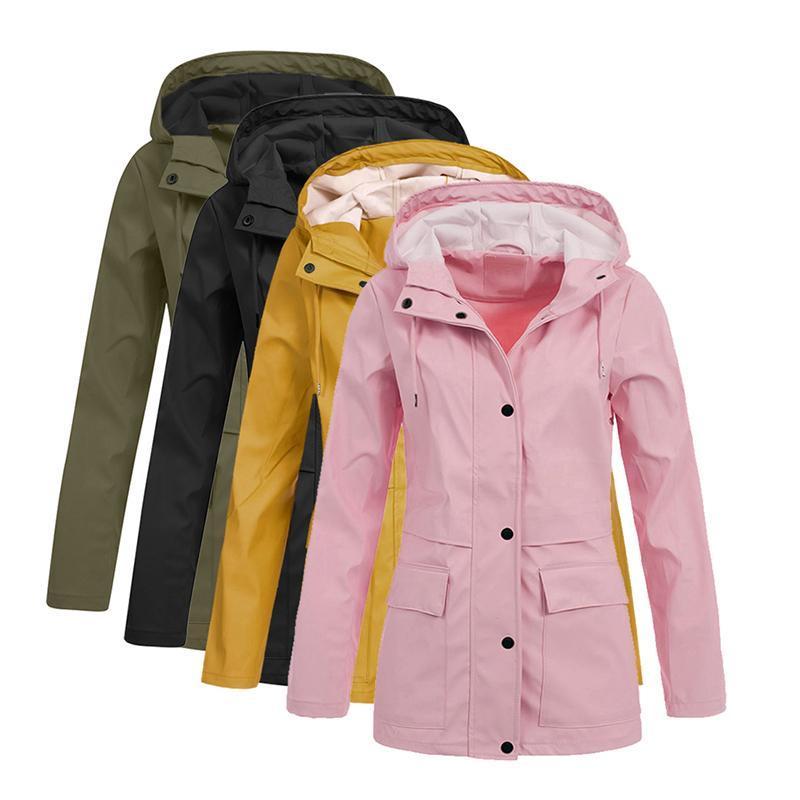 Women's Jackets 5XL Plus Size Coats For Women Casual Button Pockets Female Windbreaker Autumn Winter And Solid Outwear