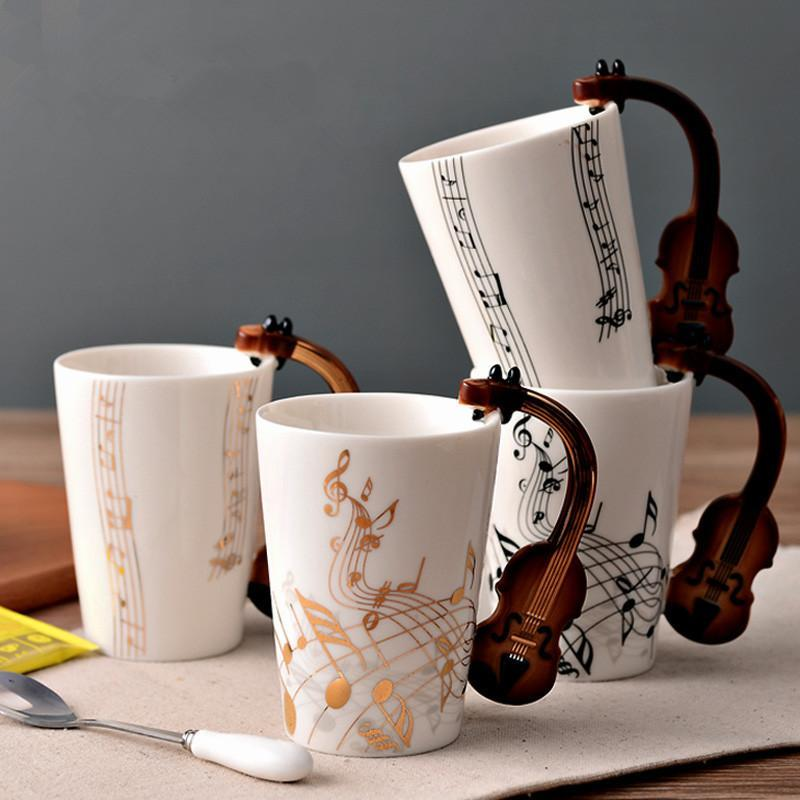 Mugs 1piece 300ml Cermic Music Mug Cup Milk Coffee Water Creative Drinkware Gift Birthday Present