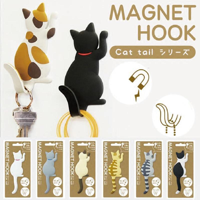 Forma de gato Teclas de montaje de pared magnética Hook Fridge Imán Imán Puerta colgante Decoración Kima88 Ganchos Rieles