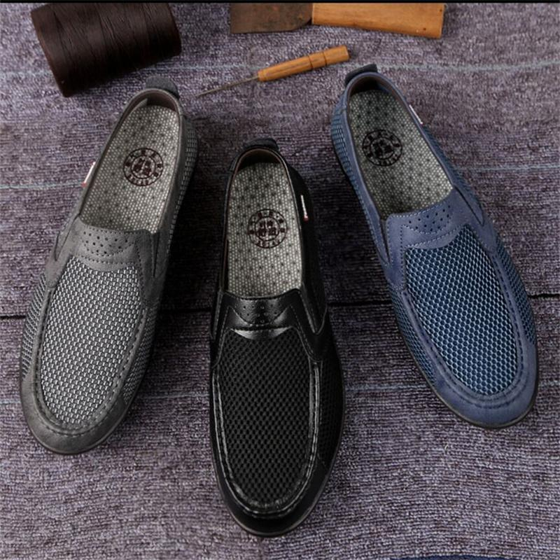 2021 Summer net shoes men's casual breathable mesh sports one-foot large size walking old Beijing cloth