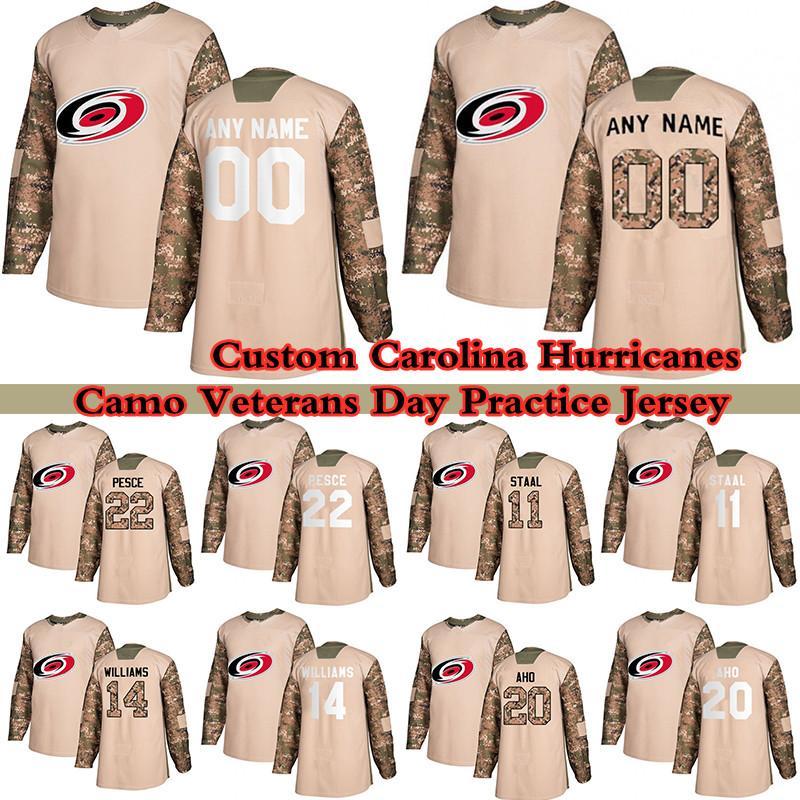Custom Camo Veterans Day Prática Temporada Carolina Hurricanes Hóquei Jerseys 23 Brock McGinn 86 Teuvo Teravainen 20 Sebastian Aho 11 Staal Qualquer número e nome