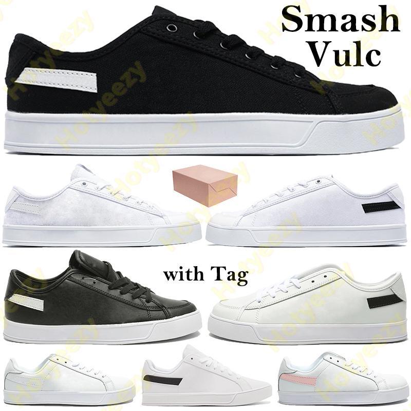 Smash Vulc 남성 여성들이 상자가있는 신발을 흔들며 핑크 캔버스 가죽 스포츠 스니커즈 클래식 트레이너 태그 6-10.5