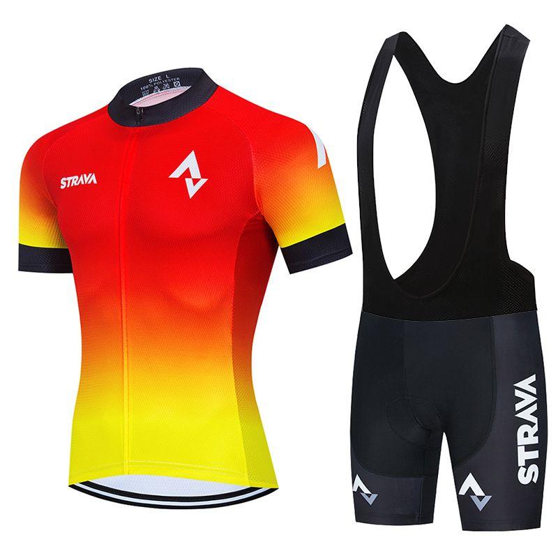 2021 Strava Ciclismo Team Jersey 20d Bike Shorts Conjunto Ropa Ciclismo Mens MTB Verão Pro Bicycling Maillot Vestuário