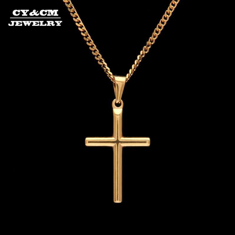 Cycm Mini Cross Smooth Cross Colgante Collar de oro HIPHOP 316L Acero inoxidable Golden Jesús Charm Joyería Hombres Mujeres Cadena Cuba