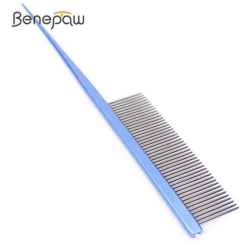 Benepaw Professional Stainless Steel Dog Comb Comfortable Anti Static Painless Pin Tail Hair Brush Pet Grooming Tool Durable