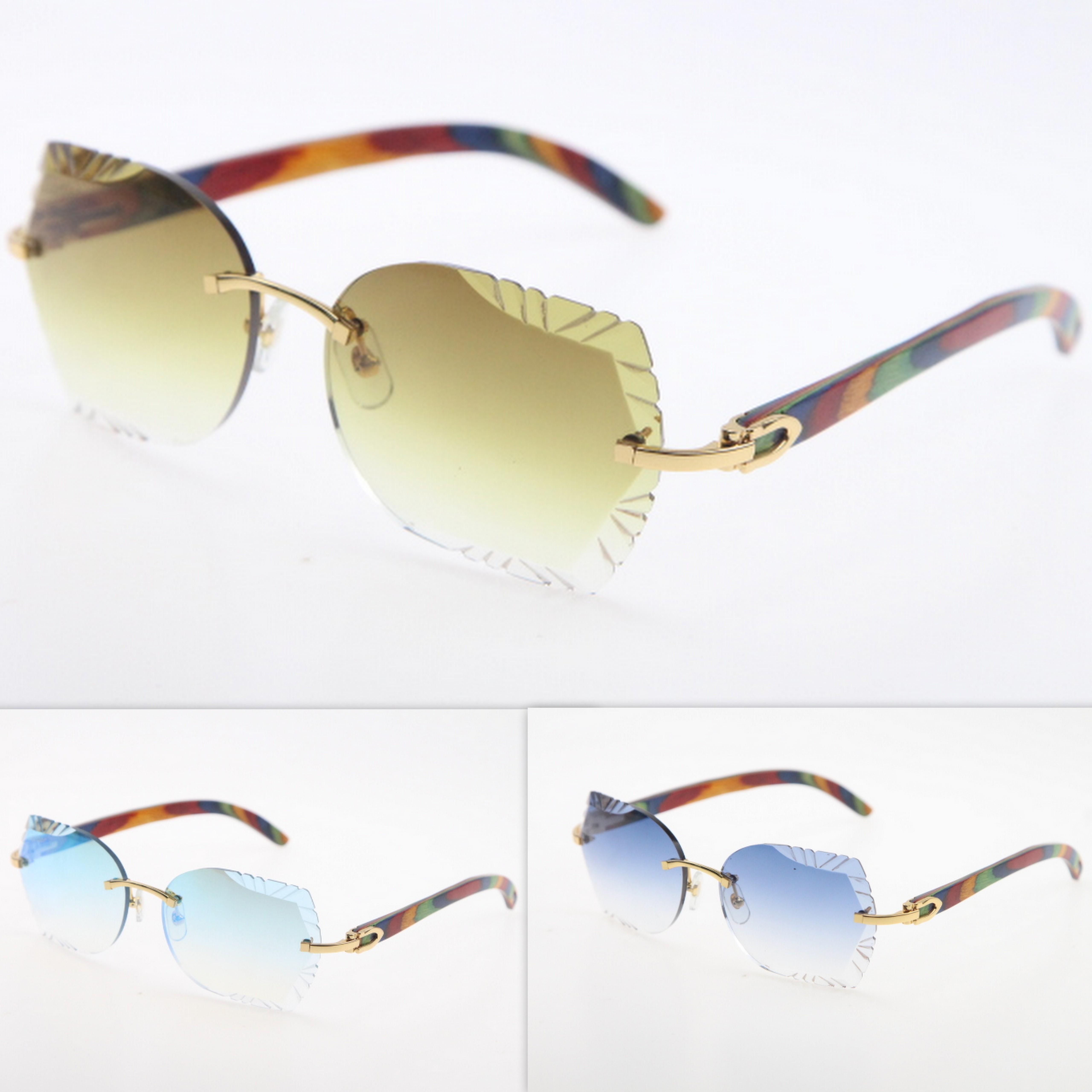 Sonnenbrille geschnitzt Randlose heiße Brillen Sonnenbrille Linse Pfau Holz Randlose Linse Katze Neue Trimmgläser Sonnenbrille Unisex Triangl Xelbk
