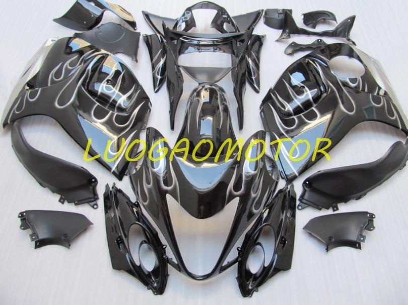 Einspritzkörpermaterial Custom Fourting Kit für Suzuki Hayabusa GSXR1300 GSXR 1300 2008 2009 2010 2011 Cowling 2012 2013 2014-2015 Falme Black Fairing Kits