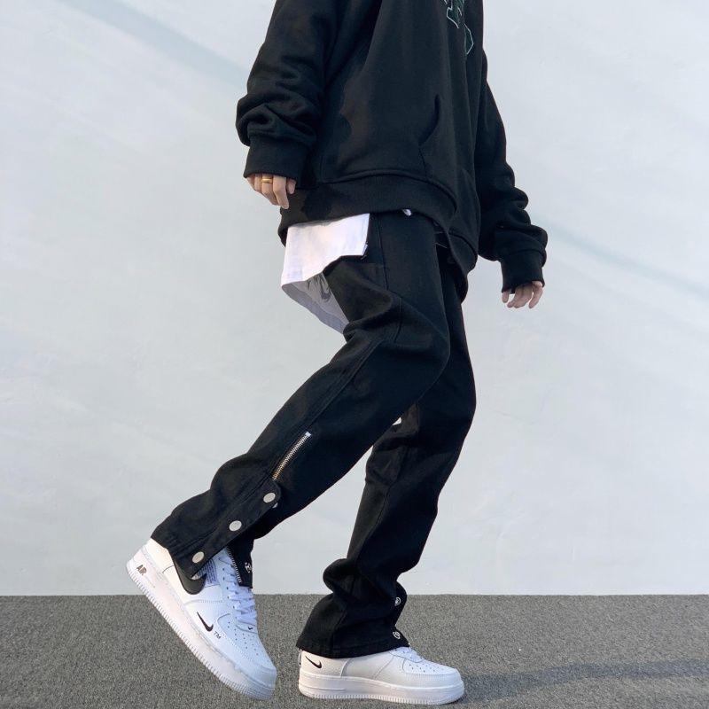 Calças masculinas Breasted Zipper Calças Casuais Negra Design De Carga Emagrecimento Hiphop Masculino High Street Japonês Streetwear Homens