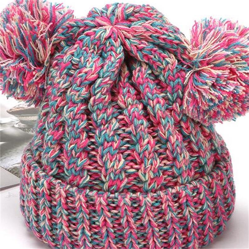 Kid Knit Crochet Beanies Hat Girls Soft Double Balls Winter Warm Hat 12 Colors Outdoor Baby Pompom Ski Caps 185 U2