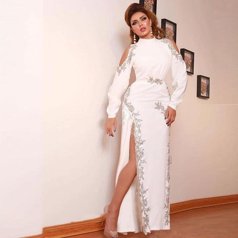 Dentelle blanche Arabe Dubai Robes de soirée 2021 Appliques Side FLIT Formelle Formel Bal Party Robes Vestidos de Fiesta Noche Manches longues