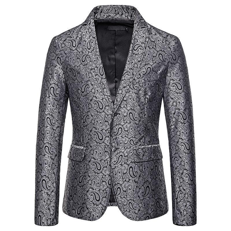 Men's Suits & Blazers Blazer Men Paisley Floral Jackets Wine Red Golden Stage Suit Jacket Elegant Wedding Mens Plus Size