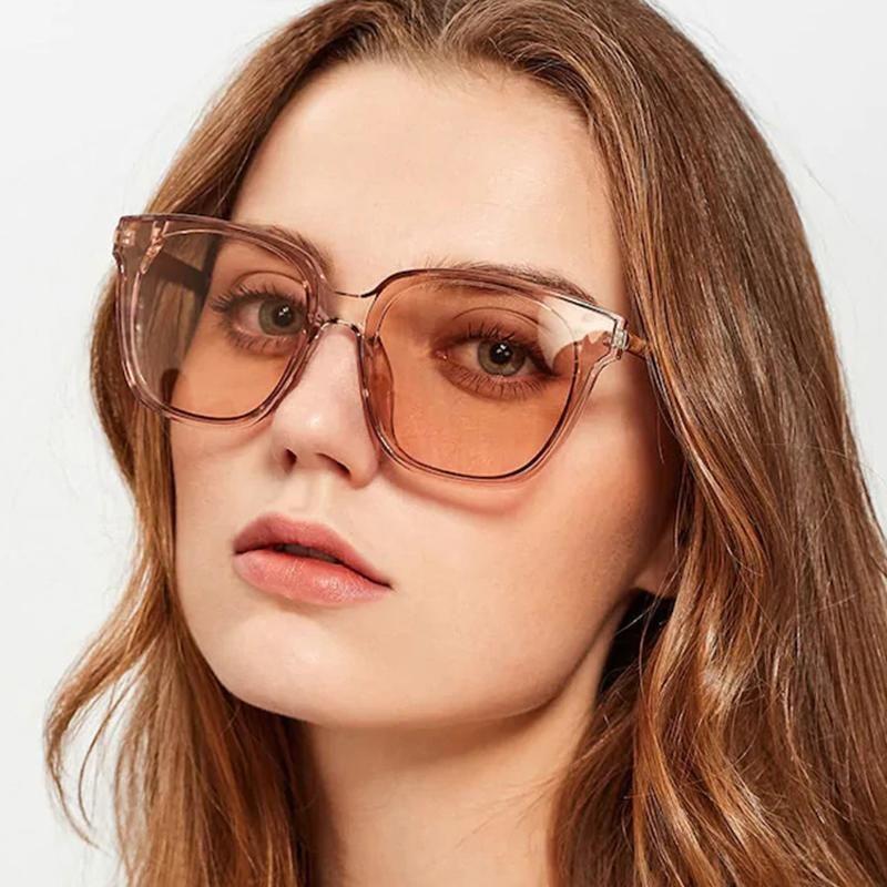 Fashion Square Sun Lunettes Dames Marque De Designer Vintage Champagne Couleur Cadre Transparente Sunglasses Femmes / Hommes Driving Shades
