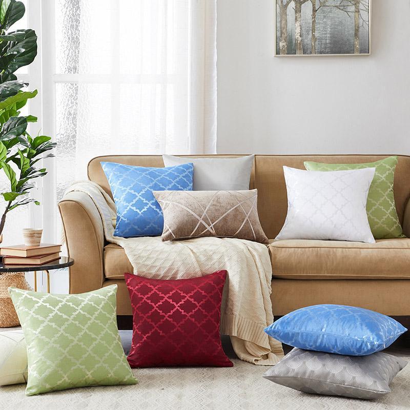 Kissen / dekorative Kissen Sommer Kissenbezug Seidenkoffer Weiche Kühlgeometrie Großes Sofa Home Decoration Mode Kissenbezug 45x45cm 50x50cm