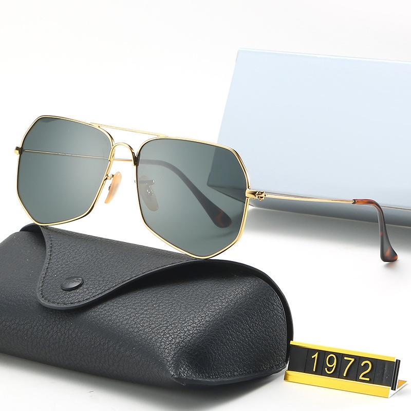 2021 레트로 다각형 그라디언트 선글라스 남성 여성용 럭셔리 그린 블랙 그레이 불규칙 렌즈 태양 안경 빈티지 안경 운전 1972