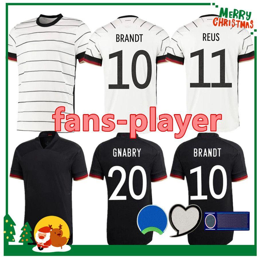 독일 2021 축구 유니폼 홈 Hummels Kroos Draxler Reus Muller Gotze Player - 팬 버전 축구 셔츠 남성 + 키트 키트