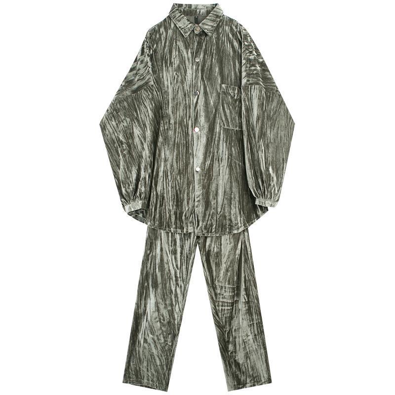 Männer 2 stücke Sätze (Hemd + Hose) Vintage Mode Samt Casual Langarm Hemd Gerade Hosen Männliche Streetwear Hip Hop Herrenhemden
