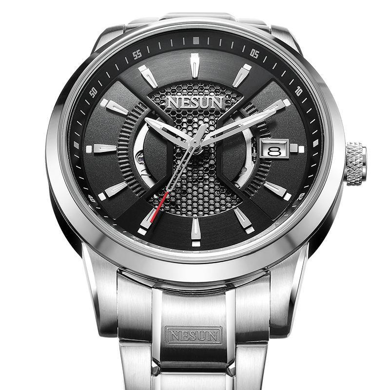 NESUN İzle Erkekler İsviçre Japonya İthalat NH35A Otomatik Mekanik Hareketi erkek Saatler Safir Saat N9207G-3 Saatı