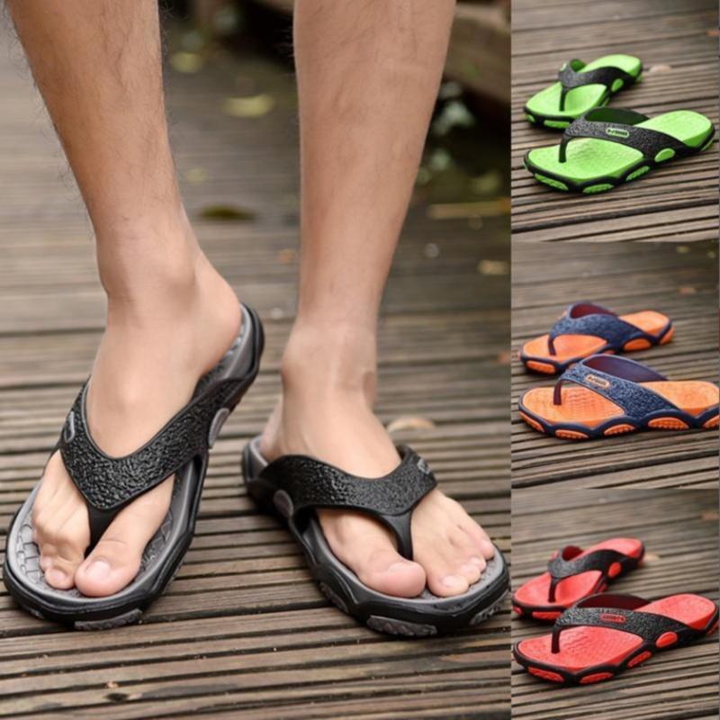 الصيف في الهواء الطلق الرجال النعال أحذية الشاطئ الأزياء زحافات الصيف الأحذية للذكور غير الانزلاق الحمام النعال المنزل