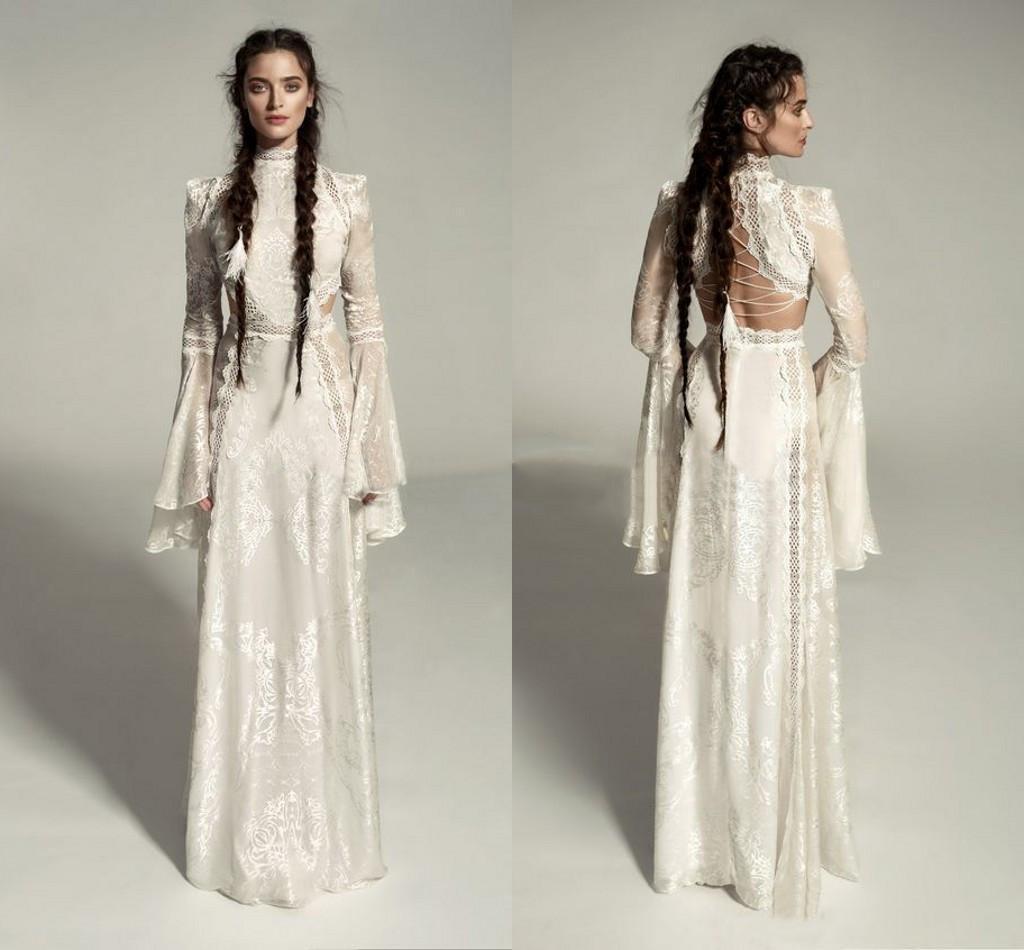 Mireal Zano Great Victoria Mittelalterliche Hochzeitskleid mit Glockenärmel Vintage Häkeln Spitze High Hals Gothic Queen Brautkleider