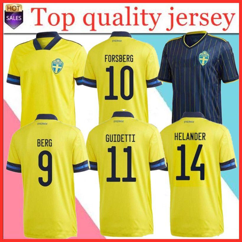 20 21 Sweden National Home Soccer Jerseys Ibrahimovic Kallstrom Forsberg Erwachsener Mann + Kinder Kit Fußball Hemd