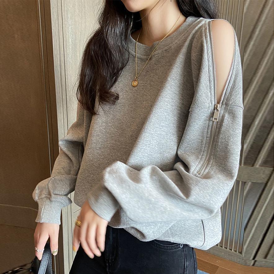 Sudaderas con capucha para mujer Sudaderas y diseño de otoño manga larga de suéter de hombro Jersey de moda