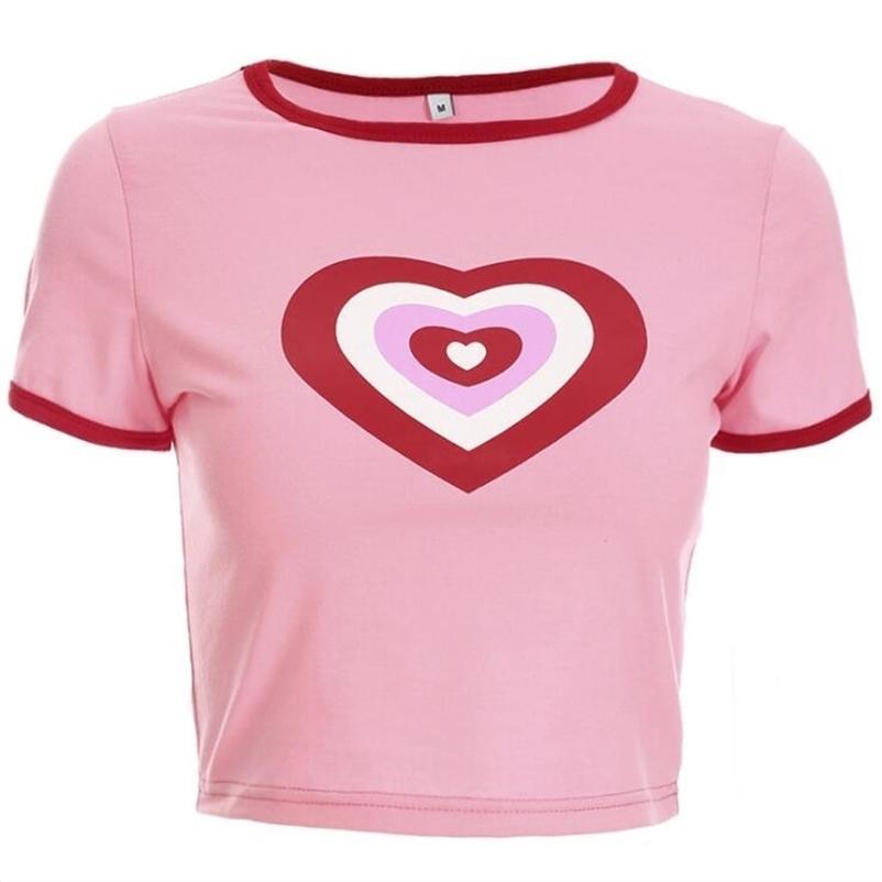 Verão novo amor coração impressão t-shirt de manga curta 210320