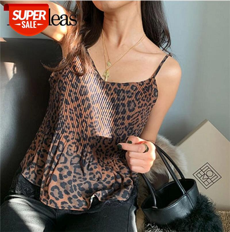 2021 Moda Mulheres Tanque Vintage Leopard Imprimir Mulheres Camis Patchwork Lace Sexy Top Mulheres Casual Cotton Tank # VN1C