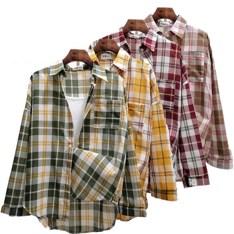 Bahar Kadın Bluz Ekose Gümüşme Yaka Gömlek Uzun Kollu Sonbahar Gevşek Rahat Giyim Ekleme Bayanlar Düğme Kadın Bluz Gömlek