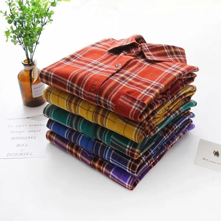 2021 camisa de algodón de la tela escocesa de primavera pequeña camisa de manga larga de tela escocesa fresca de las mujeres 9170