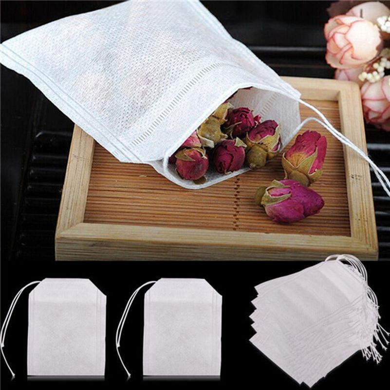 Teabags 100Pcs/Lot 5.5 x 7CM Empty Drawstring Tea Bags Heal Seal Filter Paper for Herb Loose Tea Non-weawon Fabric