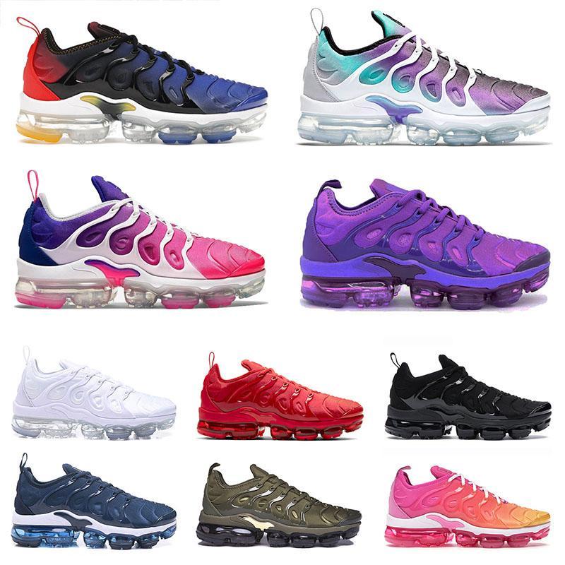 36-47 2021 Sapato Nike Air Vapormax TN Plus Tênis masculino feminino tênis Racers triplo preto branco escuro azul vermelho masculino feminino tênis esportivo tênis Tns