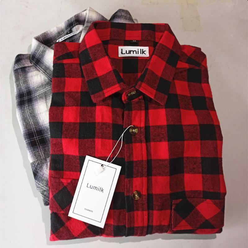 Lumilk Brand Flannel Plaid 셔츠 남성, 긴팔 캐주얼 버튼 셔츠, 정기적 인 적합,면 100 % 셔츠