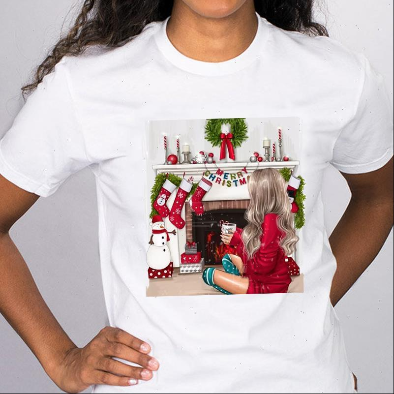 Frauen Merry Womens Tops Weihnachten Winterzeit Mode Mädchen 90er Jahre Cartoon Grafische Holiday T-Shirt Dame Dame Weibliche T-Shirt