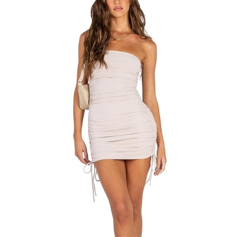 Delle donne Abito a matita senza maniche a vita alta a vita sottile vestito elegante signore estate moda femmina benda mini abbigliamento 210522
