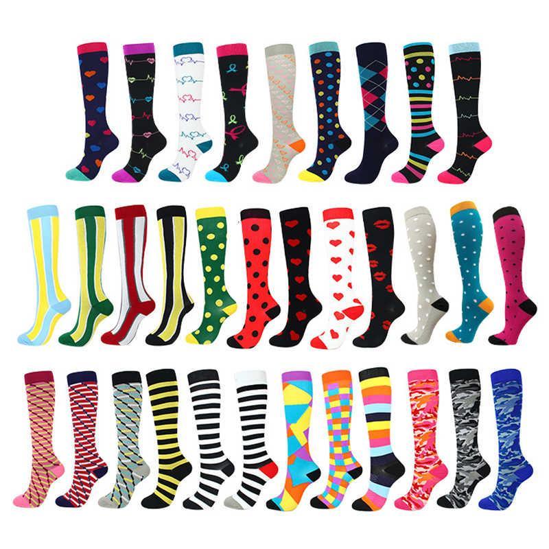 Мужские женщины сжатие красочные принты коленные спортивные носки (20-30ммг) для бега, путешествия, велосипедные, беременные, отеки, уход