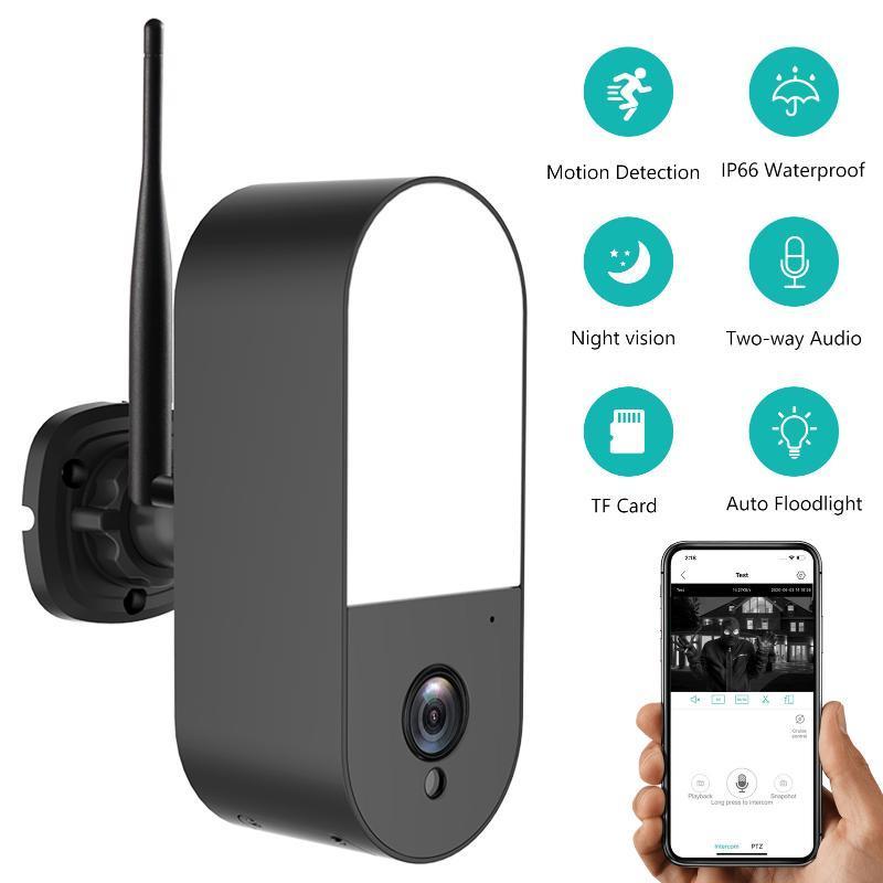 Kablosuz Güvenlik Işıklandırmalı Kamera, 2MP Açık WiFi Gözetim Kamera Gece Görüş, İki Yönlü Ses, AI Humanoid Algılama IP Kameralar