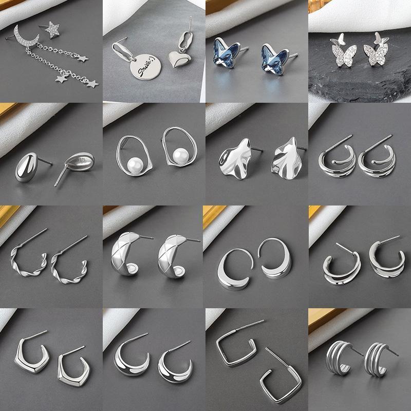 Старинные серебряные серебряные сережки с длинными нитью для женщин Звездная лунная кружок серьги серьги моды геометрические украшенные подарки