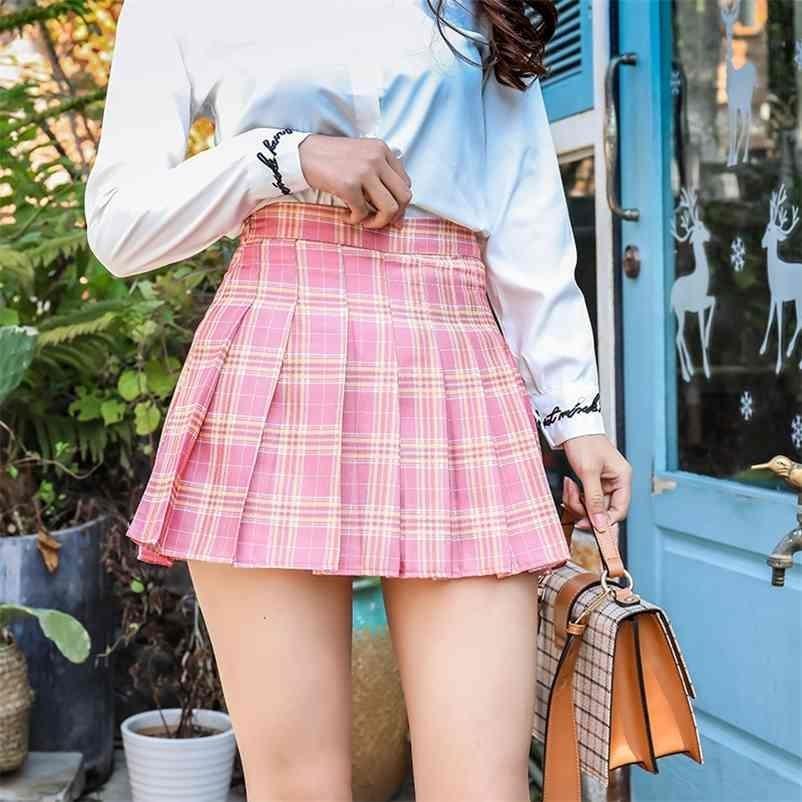 Frauen Plaid Fashion Mini Plissee Casual Lose Neue Koreanische Stil A-Zeilen-Rock Hohe Taille Kawaii Sweet 210324