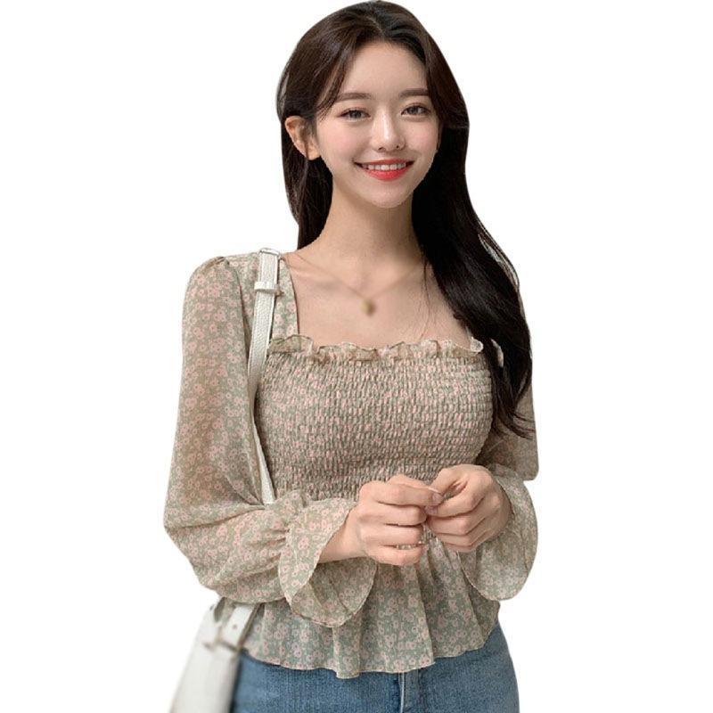 Blusa sexy para las mujeres coreanas tops florales cuello cuadrado primavera temprano otoño halter burbuja camisa de gasa luz verde l b x0521