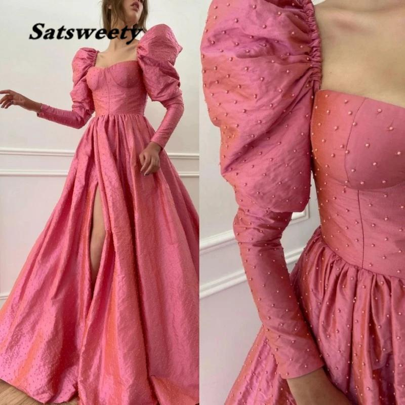 Pink Peals Beaded Evening Dresses Long sleeves And Split Open Skirt Party Gown Taffeta Puffy Prom Dress Vestidos Robe De Soiree