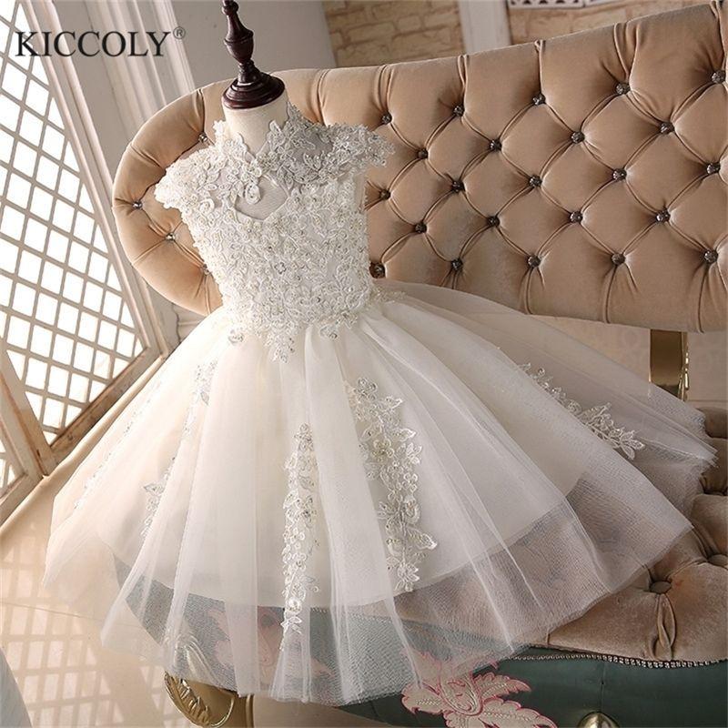 Glizt Bead Branco Tule Primeiro Comunhão Vestidos Para Meninas Vestido Daminha Casamento Bola de Luxo Vestido Organza Flower Vestidos 210319