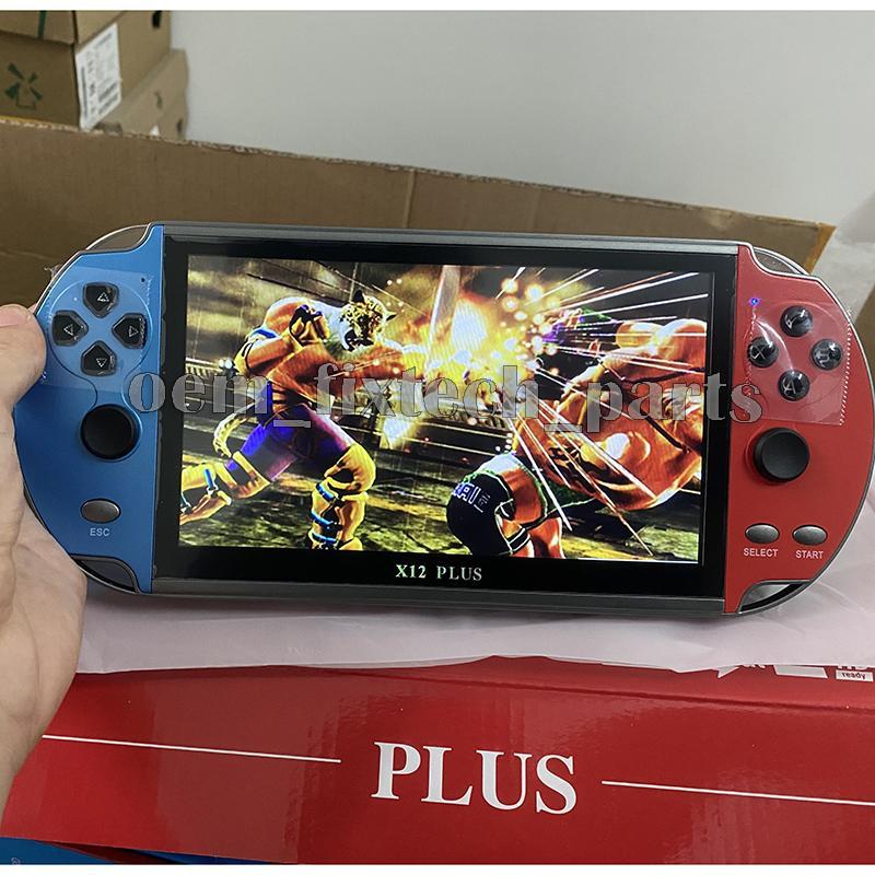 7 بوصة X12 زائد LCD فيديو وحدة فيديو 1000 ألعاب 16 جيجابايت المحمولة مزدوجة عصا التحكم تحكم MP5 لاعب AV الإخراج TF بطاقة