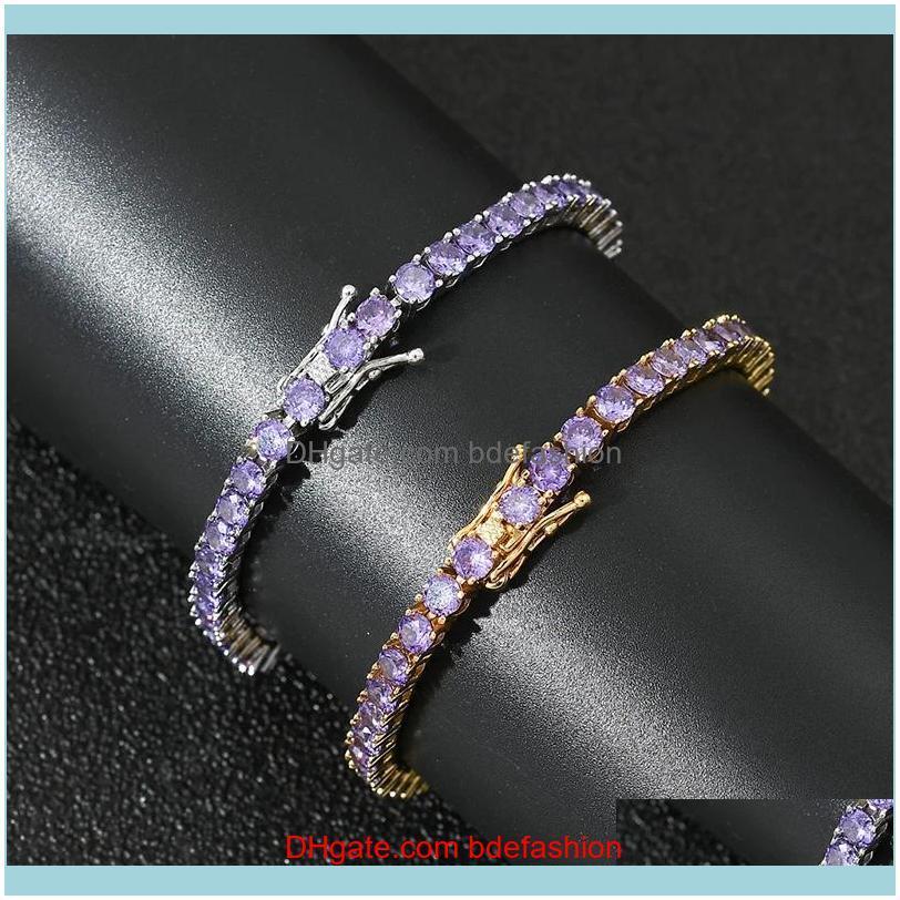 Charm Jewelry4Mm Hip Hop Bling Iced Out Purple Cubic Zirconia Tennis Bracelets Women Men 1 Row Cz Link Chain Jewelry Gold Sier Color Drop De