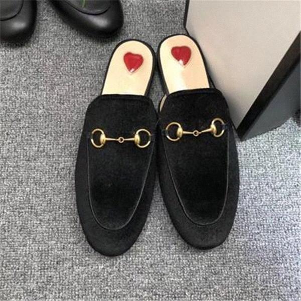 الرجال النساء النعال الناعمة البقر كسول النساء الأحذية الجلدية معدنية مشبك الشاطئ النعال البغال برينستاون سيدة النعال الكلاسيكية كبير EUR 34-45 F8PV #